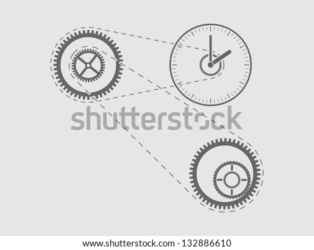 simple illustration of clock and cogwheels - stock vector