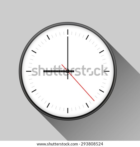 Simple illustration of clock with hour, minute and second arrows, isolated on white background, with long shadow. Can be used as icon. Vector illustration - stock vector