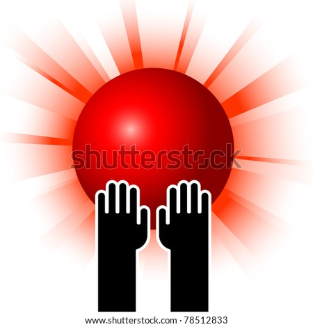 simple illustration of red sun in hands - stock vector
