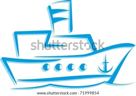 simple illustration with a ship - stock vector