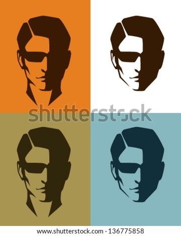 simple illustrations of a handsome man face, with sunglasses, suitable for men fashion topics - stock vector
