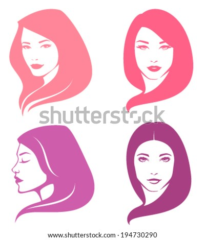 simple illustrations of beautiful women with various hair style - stock vector