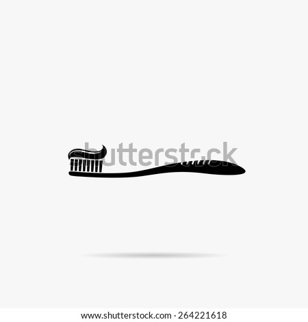 Simple Image toothbrush with toothpaste. - stock vector