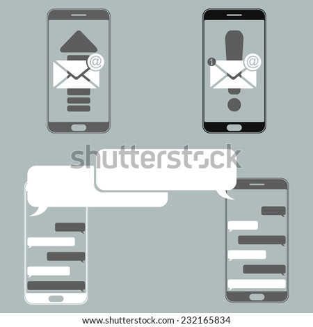 Simple image with modern smartphone windows correspondence (chat) and sign and send the letter of notification of a new message. - stock vector