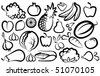 Simple images of vegetables and fruit - stock vector