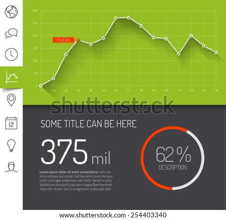 Simple infographic dashboard template with flat design graphs and charts - green version - stock vector