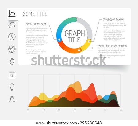 Simple infographic dashboard template with flat design graphs and charts - light version - stock vector