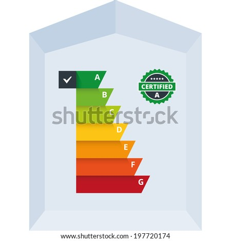 Simple infographic vector illustration of energy efficiency classification certificate class. Suitable for house, building, home appliances or electronic devices. - stock vector