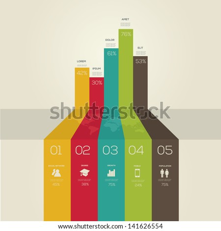 Simple infographics. Retro style. Vector - stock vector