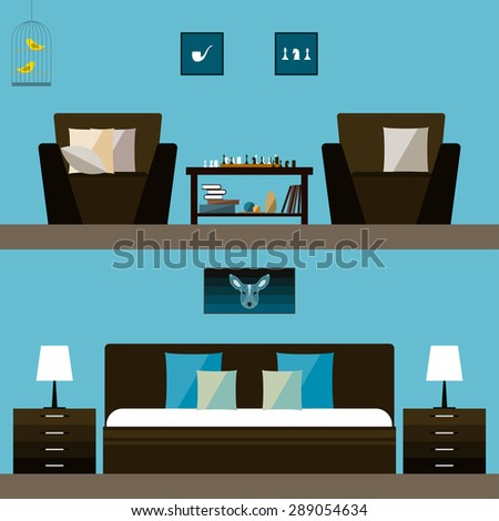 Simple interior. Illustration in trendy flat style with room and bedroom interior isolated on bright stylish blue cover for use in design for card, invitation, poster, banner, placard or billboard  - stock vector