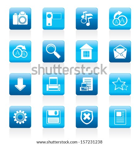 Simple Internet and Website Icons - Vector Icon Set - stock vector