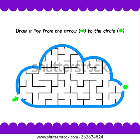 Simple kids maze cloud. Activity pages with kids - stock vector