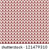 simple knitted background on red. vector illustration - stock vector