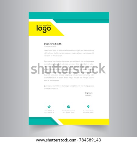 simple letterhead template design stock vector royalty free