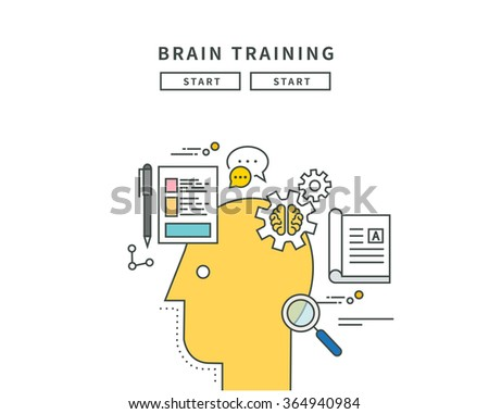 simple line flat design of brain trainning, modern vector illustration - stock vector