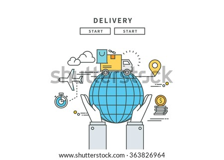 simple line flat design of delivery , modern vector illustration - stock vector