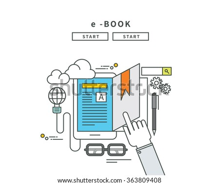 simple line flat design of e-book, modern vector illustration - stock vector