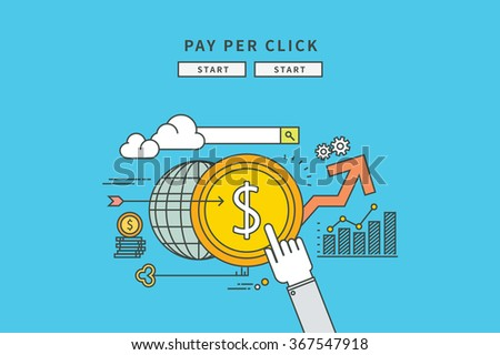 simple line flat design of pay per click, modern vector illustration - stock vector