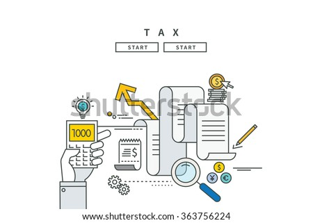 simple line flat design of tax, modern vector illustration - stock vector