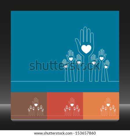Simple line illustration of united hands vector. - stock vector