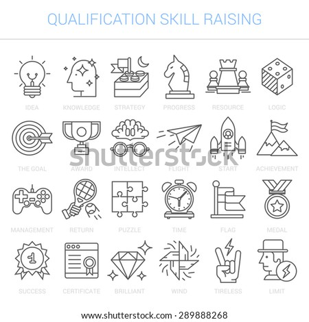 Simple linear icons in a modern style flat. Advanced Training and Skills Leveling. Isolated on white background. - stock vector