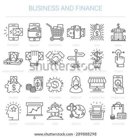 Simple linear icons in a modern style flat. Business and Finance. Isolated on white background. - stock vector