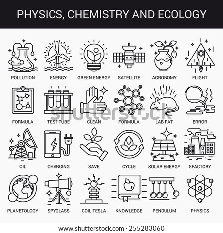 Simple linear icons in a modern style flat. Physics Chemistry and Ecology. Isolated on white background. - stock vector