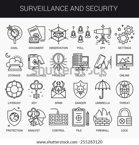 Simple linear icons in a modern style flat. Surveillance and Security Isolated on white background. - stock vector