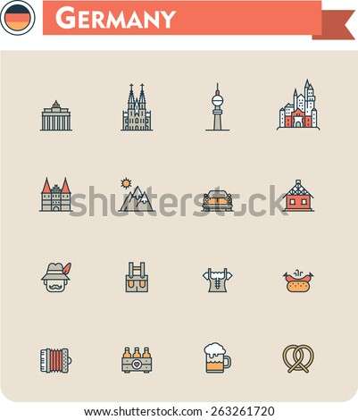 Simple linear Vector icon set representing Germany travel destinations and Germany culture symbols. Germany as a travel destination - stock vector