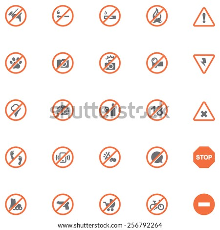 Simple linear Vector icon set representing prohibition related symbols and signs - stock vector