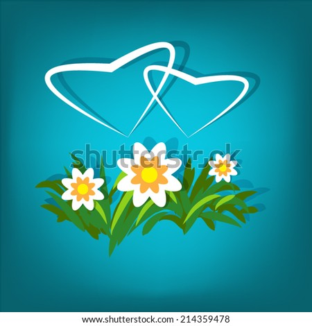 Simple love cards with two harts over flowers on blue tilt background - stock vector