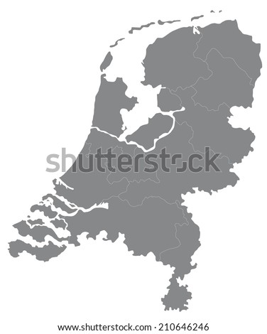 Simple Map Netherlands Stock Vector 210646246 Shutterstock