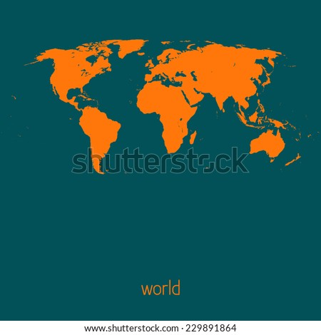 Simple map of the world on a sherpa blue background. Vector - stock vector