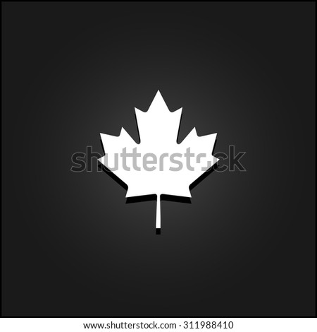 Simple maple leaf. White flat simple vector icon with shadow on a black background - stock vector