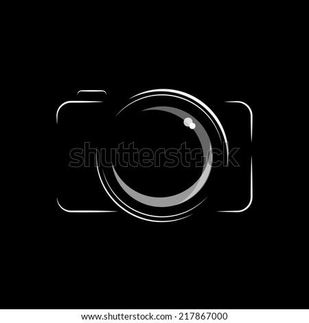 Simple, minimal camera icon in black and white, isolated over black background. EPS10 vector format. - stock vector