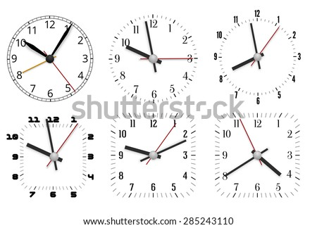 Simple minimal clock design dial plates with arrows, Vector illustration - stock vector
