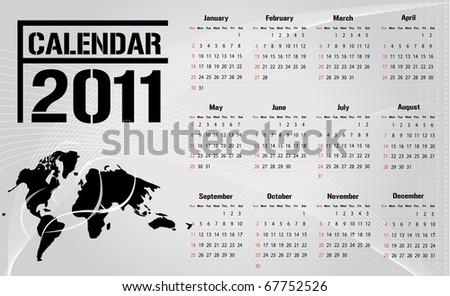 Simple modern business calendar - starts sunday. Vector - stock vector