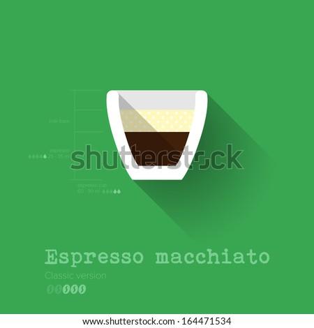 Simple Modern Espresso Macchiato Manual Wallpaper - Flat Design - Vector Illustration - stock vector