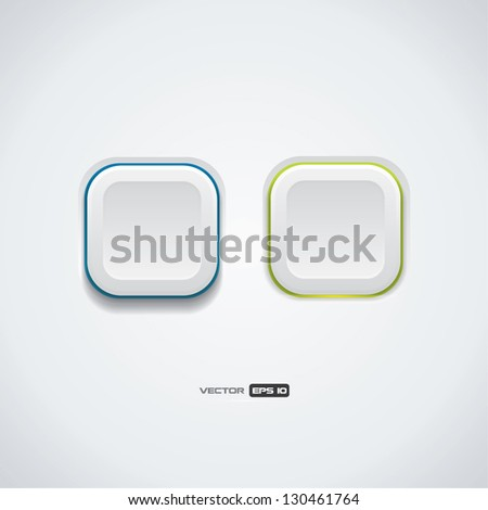 Simple modern look white Ui buttons - stock vector