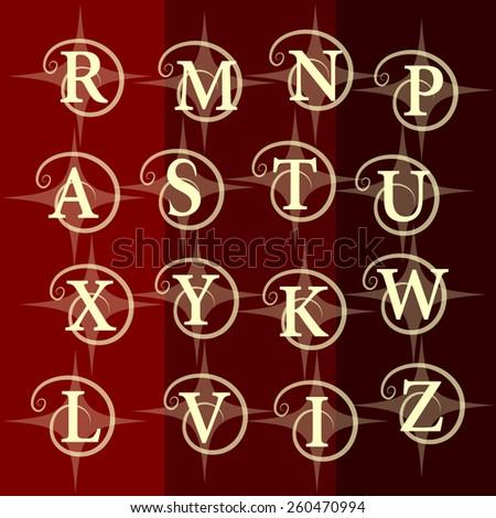 Simple Monogram design elements, graceful template. Elegant line art logo design. Business sign, identity for Restaurant, Royalty, Boutique, Cafe, Hotel. R, m, n, p, a, s, t, u, x, y, k, w, l, v, i, z - stock vector