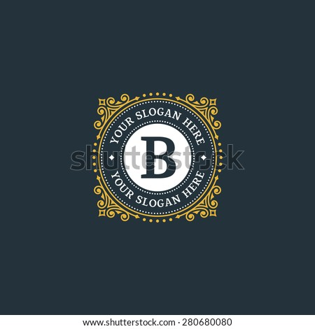 Simple monogram design template with letter B. Elegant frame ornament line logo design. Good for Restaurant, Boutique, Hotel, Heraldic, Jewelry. - stock vector