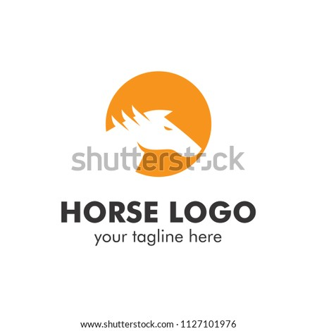 simple monoline and silhouette horse logo template