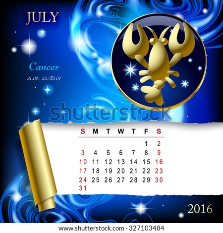 Simple monthly page of 2016 Calendar with gold zodiacal sign against the blue star space background. Design of July month page with Cancer figure.Vector illustration - stock vector