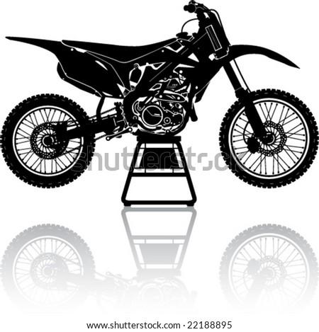 Simple Motorcross Cycle in Repair - stock vector