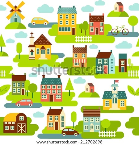 Simple multicolor seamless background with panoramic town in european style  - stock vector