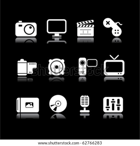 simple multimedia on black - stock vector
