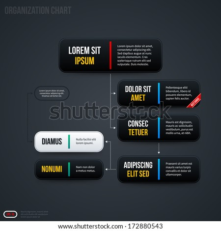 Simple Organization Chart Templates Horizontal Banners Stock Vector