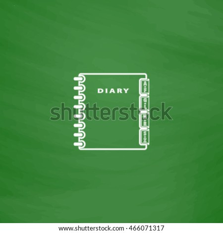 Simple organizer. Flat Icon. Imitation draw with white chalk on green chalkboard. Flat Pictogram and School board background. Vector illustration symbol