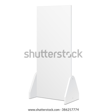 Simple Outdoor Indoor Stander Advertising Stand Banner Shield Display, Advertising. Mock Up Products On White Background Isolated. Ready For Your Design. Product Packing. Vector EPS10 - stock vector