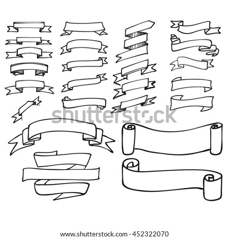 Simple Outline Banner Ribbon Collection Hand Stock Vector ...
